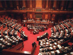 L'aula del Senato della Repubblica, uno dei due rami del Parlamento italiano