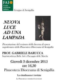 Manifesto di presentazione del restauro della lucerna di epoca napoleonica della Pinacoteca Diocesana