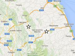 La mappa delle tre scosse di terremoto registrate nel maceratese