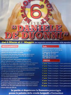 Il volantino del 6° memorial di volley Daniele De Duonni