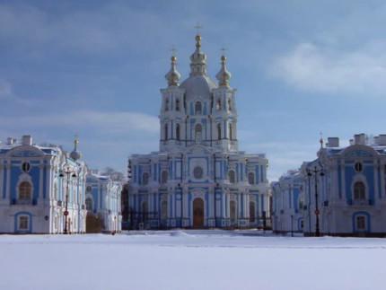 La cattedrale di Smolny a San Pietroburgo, in Russia