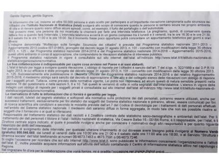 La lettera dell'Istat che preannuncia il sondaggio