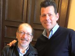 Visita di Dario Vergassola in Comune a Senigallia: foto col sindaco Mangialardi