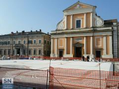 I lavori in piazza Garibaldi, a Senigallia