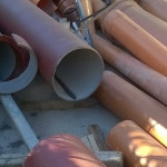Le tubature interessate dai lavori in via Spontini, a Senigallia