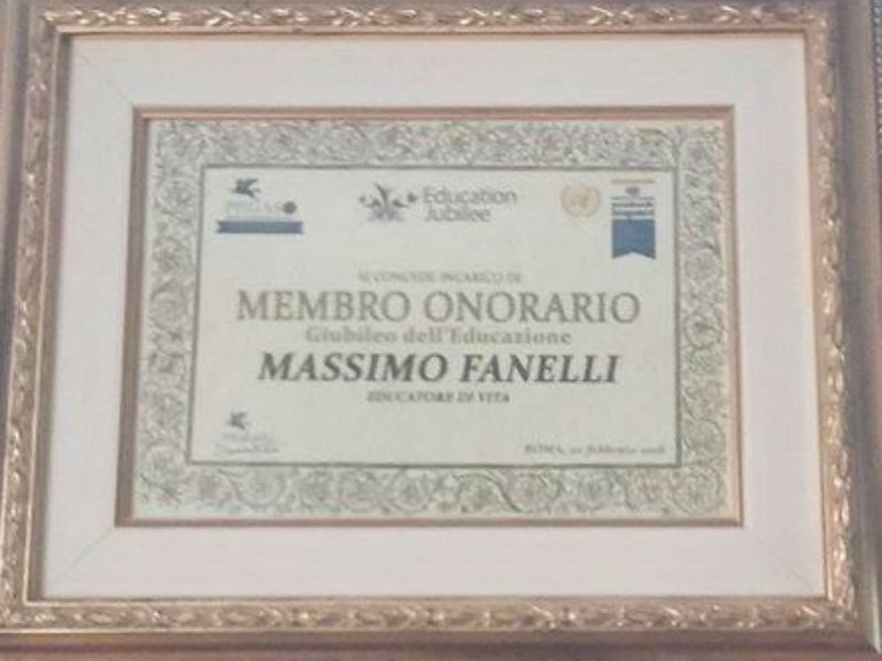 Max Fanelli membro onorario Giubileo Educazione