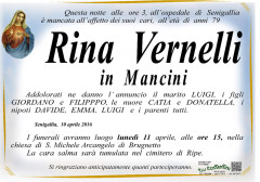 Il manifesto funebre per Rina Vernelli