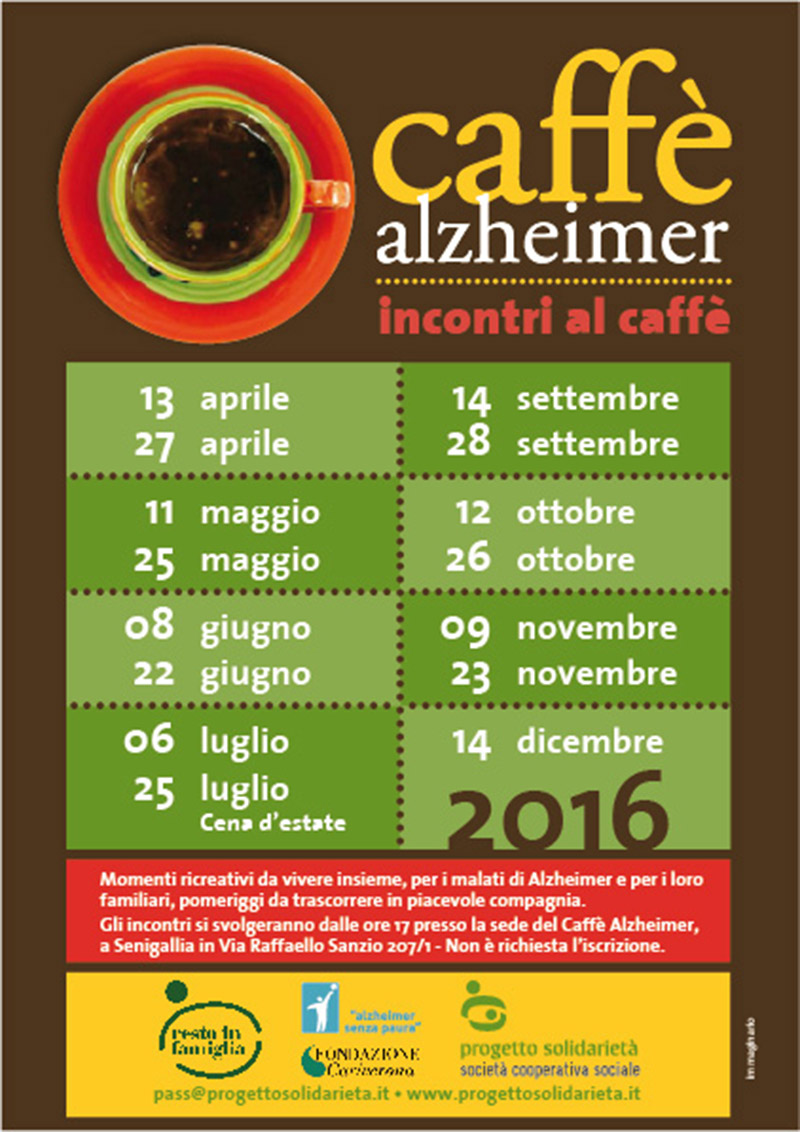 Calendario iniziative 2016 Caffè Alzheimer