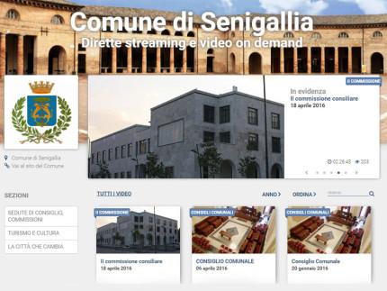 La home page della piattaforma web del Comune di Senigallia per i video delle commissioni e delle sedute consiliari