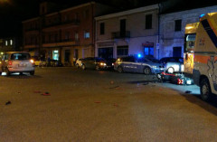 La scena dell'incidente, in viale Leopardi a Senigallia