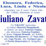 Manifesto di ringraziamento della Famiglia Zavatti