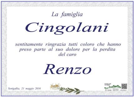 Ringraziamento Renzo Cingolani