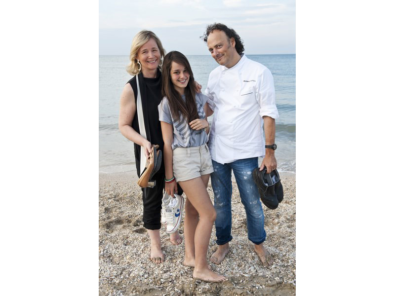 Moreno Cedroni e la sua famiglia