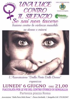Il volantino della manifestazione contro la violenza maschile su donne e minori