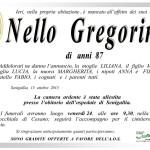 Nello Gregorini, necrologio