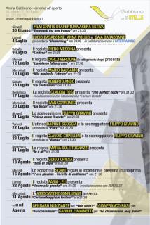 La locandina dell'Arena estiva al cinema Gabbiano di Senigallia: gli eventi