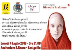 """La cartolina dell'UAAR Senigallia sull'incontro con Giuliana Sgrena per il libro """"Dio odia le donne"""""""
