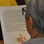 La scheda informativa dell'incontro alla chiesa della Croce sullo stemma papale di Pio IX
