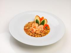 Zuppa di cicerchie con guanciale, gamberi e crostini all'olio d'oliva extravergine - ricetta di Alessandro Rosselli