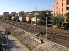 La linea ferroviaria in via Perugia, a Senigallia