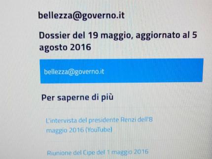 """Lo screenshot del progetto e del dossier """"bellezza@governo.it"""""""