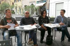 """I componenti del comitato referendario """"no alla fusione con Morro d'Alba"""": da sx, Alessandro Curtatoni, Leonardo Badioli, Elisabetta Palma e Riccardo Pizzi"""