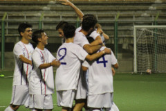 L'esultanza della squadra Fc Senigallia dopo il goal all'Olimpia Marzocca in coppa Italia
