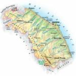 La mappa idro-orografica della regione Marche