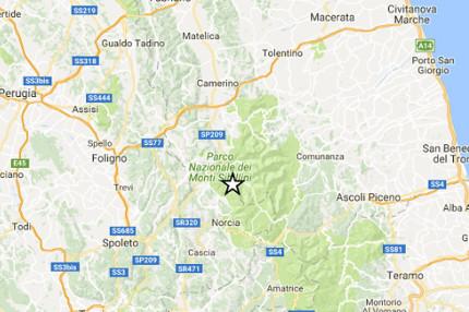 La mappa del terremoto registrato il 4 ottobre nell'area del parco dei Sibillini, a Castelsantangelo sul Nera