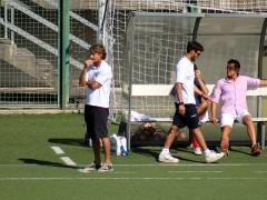 Stefano Goldoni davanti la panchina dell'FC Senigallia allo stadio G.Bianchelli