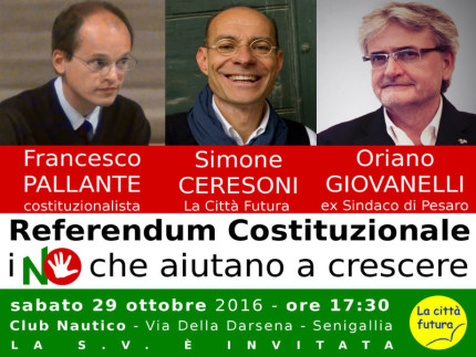 Referendum Costituzione, incontro La Città Futura