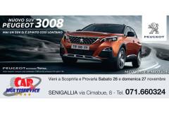 La locandina della giornata di porte aperte a Car Multiservice di Senigallia per il nuovo Peugeot 3008
