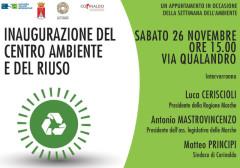 La locandina dell'inaugurazione del centro ambiente di Corinaldo per la settimana europea dell'ambiente