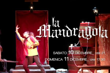 La locandina dello spettacolo La Mandragola al teatro Nuovo Melograno di Senigallia
