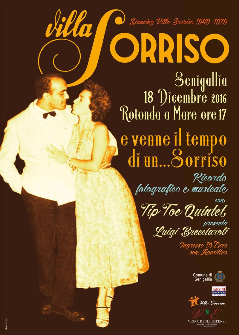 La locandina dell'evento su Villa Sorriso alla Rotonda di Senigallia
