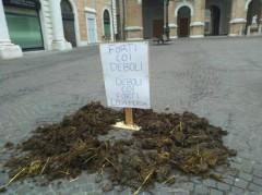 : letame in piazza Roma contro il presidio della Lega Nord