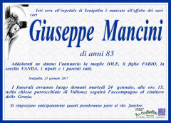 Manifesto funebre in memoria di Giuseppe Mancini