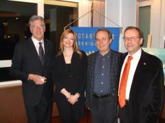 L'incontro al Rotary club di Senigallia: da sinistra Camillo Nardini, Simona Zava, Vito Maria Carfì e Andrea Avitabile