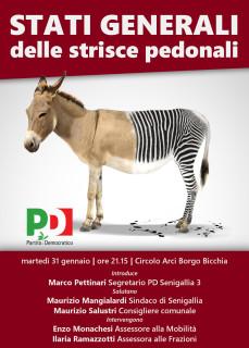 La locandina dell'incontro sulle strisce pedonali e sulla viabilità a Senigallia