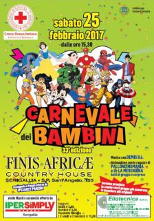 Il volantino della festa di Carnevale dei bambini 2017 promosso dalla Croce Rossa di Senigallia