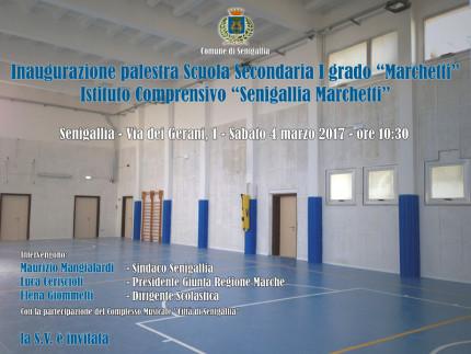 L'invito per l'inaugurazione della palestra della scuola Marchetti di Senigallia dopo il crollo del controsoffitto nel novembre 2014
