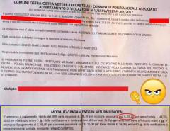 Una multa effettuata a Ostra: aumenta da 13 a 15 il costo della notifica