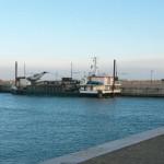 Il pontone per il dragaggio del porto di Senigallia