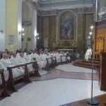 La celebrazione del giovedì santo nel duomo di Senigallia riaperto dopo il terremoto del 18 gennaio 2017