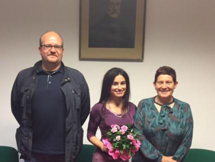 a presidente dell'A.M.I. di Senigallia Pupilli al centro, con a sinistra Frontini e a destra Galeazzi