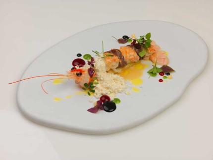 Lo scampo rincorre la lepre e sorbetto di senape - ricetta di Errico Recanati