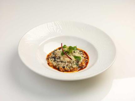 Risotto con Murici, finocchietto selvatico, verdure in osmosi d'olio E.V.O. Mandarino, crema di aglio dolce - ricetta di Gabriele Savini