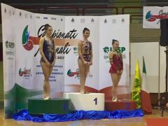 Il podio delle finali regionali dei campionati Uisp di ginnastica ritmica a Jesi