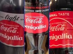 Le bottiglie della Coca Cola che riportano il nome di Senigallia