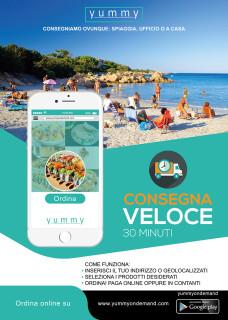 Yummy on demand - Volantino consegne in spiaggia